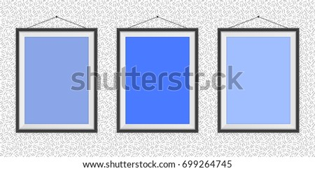 Different Types Blue Photo Frames On Stock Vector Royalty Free
