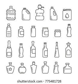 Different types of bottles: thin vector icon set, black and white kit