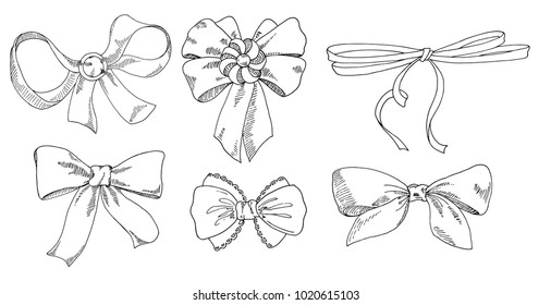 Different types of bows from ribbons. The sketch marker. Vector