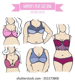 Different types of bra for women plus size, colored hand drawn lingerie and light skin