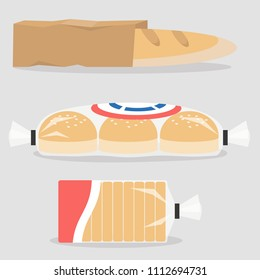 Different types of bread packed in plastic and paper bags. Bakery. Gluten free food. Flat editable vector illustration, clip art
