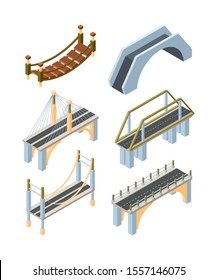 Different types of bridges isometric 3D vector illustrations set. Old and modern carriageway constructions. Urban crossover architecture decor isolated pack. City landscape elements collection
