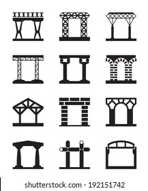 Different types of building structures - vector illustration