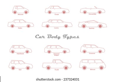 different types of car body line icons