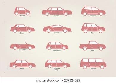 different types of car body retro icons with captions