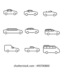 Different types of cars vector outline  icons. The variety of cars outline icons.