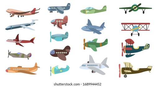 Different types of cartoon airplanes