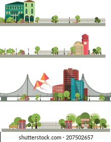 different types of cities and rural locality of broad panoramic strip on white background