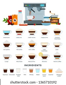Different types of coffee drinks in in glass cups with saucers. Ingredients, equipment and tools for their preparation. Coffee machine, grinder, syrup, milk, sugar. Vector illustration, set of icons.