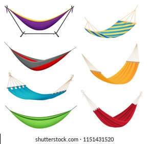 Different types colorful hanging fabric rope hammocks set with poolside attached to stands variety isolated vector illustration