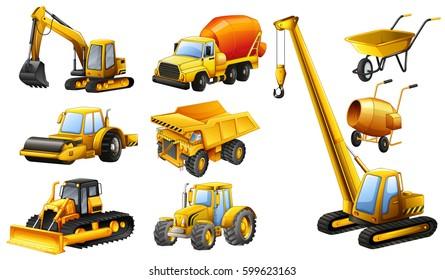 Different types of construction trucks illustration
