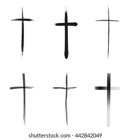 Different types of crucifix on white background