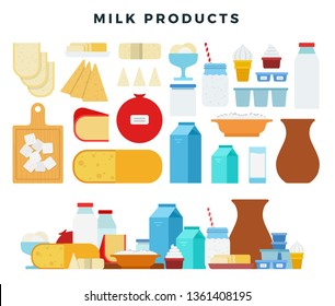 Different types of dairy products, collection of icons in flat style, isolated on white. Milk, butter, cheese, yogurt, cottage cheese, sour cream, ice cream, cream, milkshake, mozzarella. Vector.
