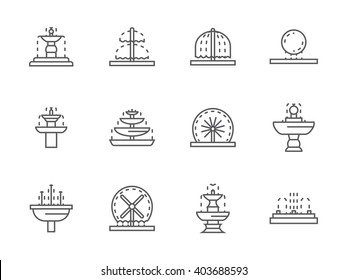 Different types of decorative fountains. Park and gardens small architecture. Outdoors and interior decor elements. Collection of simple line vector icons