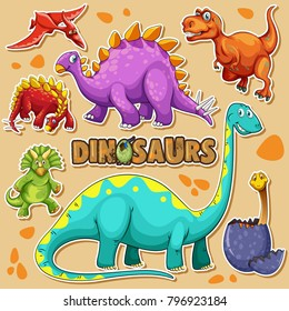 Different types of dinosaurs on poster illustration