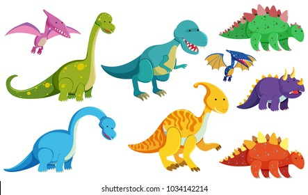 Different types of dinosaurs on white background illustration