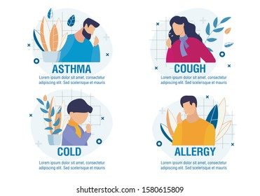 Different Types of Disease with Coughing Symptom. Cartoon Sick People Characters Set. Asthma, Cold, Allergy, Cough. Children and Adults. Medicine and Healthcare. Vector Flat Illustration