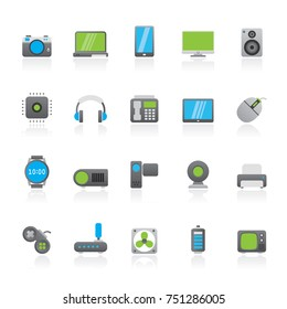 different types of electronics icons - vector icon set