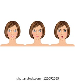 Different types of emotions on example of a beautiful young brunette woman: happy, making choice, shocked/surprised. Portraits. Isolated vector illustrations.