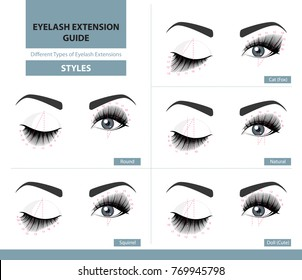 Different types of eyelash extensions. Styles for the most flattering look. Infographic vector illustration. Template for Makeup and cosmetic procedures. Training poster