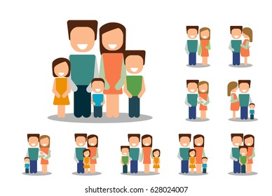 Different types of families. Set vector