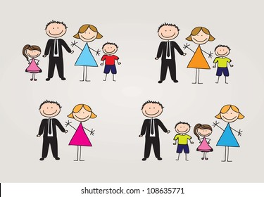 different types of family. vector illustration