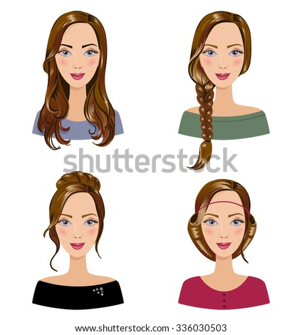 Different Types Female Hair Styles Set Stock Vector Royalty Free