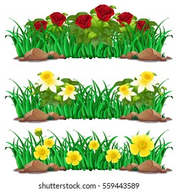 Different types of flowers in bush illustration