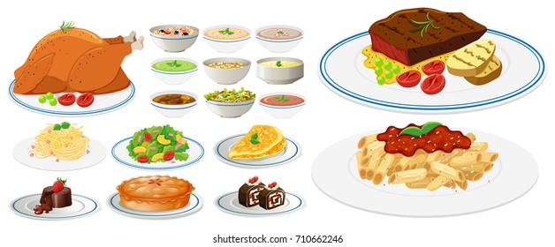 Ilustraciones Imagenes Y Vectores De Stock Sobre Platos Comida