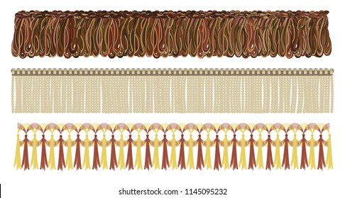 Different types of fringe set, vector illustration. Decoration that fringed clothes, curtain, etc.