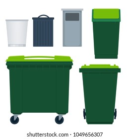 Different types of garbage bins for street and in-house use. Vector set isolated on white