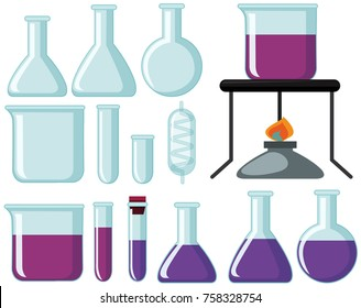 Different types of glass beakers for science experiment illustration