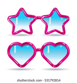 different types of glasses lenses in the shape of a heart and star glasses frame pink