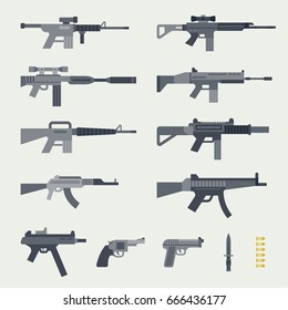 Different types of guns vector illustration flat design