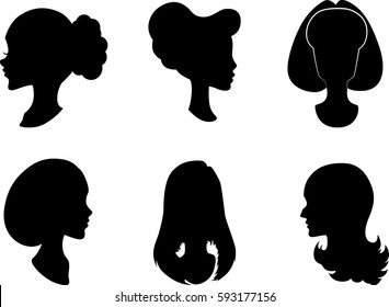 Different types of hairstyles. The hairdresser. Female silhouettes. Girls. Black color. A neat female profile. Clear outline of the face.
