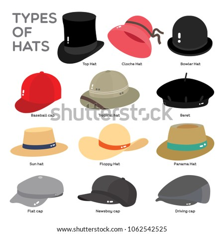 5625c603474f1 Different Types Hat Illustrate Color On Stock Vector (Royalty Free ...