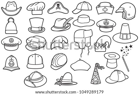 854623aa36b28 Different Types Hats Thin Line Icons Stock Vector (Royalty Free ...
