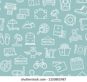 Different types of holidays and ways of travelling. Vector, monochrome background. White line drawings on the blue field.