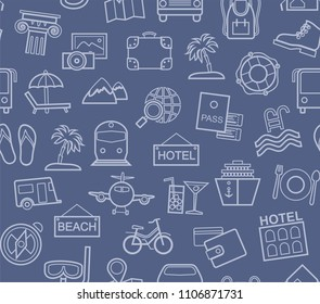 Different types of holidays and ways of travelling. Vector, color background. Gray line drawings on the blue field.