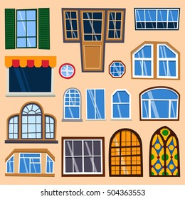 house windows types aluminum different types house windows vector elements isolated on background windows icon set window types stock vector royalty free