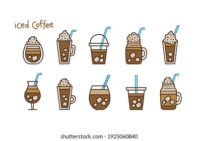 Different types of iced coffee in mugs and glassed tumblers. Vector illustration set in doodle style. Hand-drawn colored elements isolated on white background for menu, advert or print.