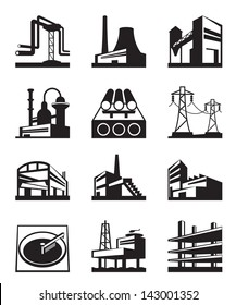 Different types of industrial construction - vector illustration