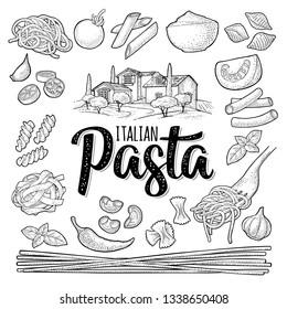 Different types macaroni. ITALIAN PASTA handwriting lettering. Farfalle, conchiglie, maccheroni, fusilli, penne, pipe, spaghetti, ruote, fettuccine tomato, wheat farm. Vector vintage black engraving
