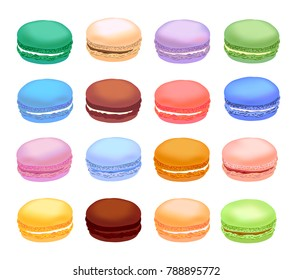 Different types of macaroons. Set of different taste cake macarons. Realistic style.