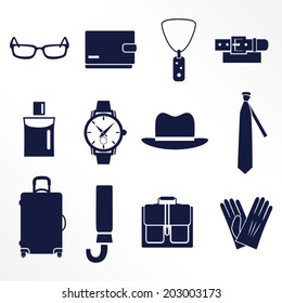 Different types of man's accessories / Solid fill icons