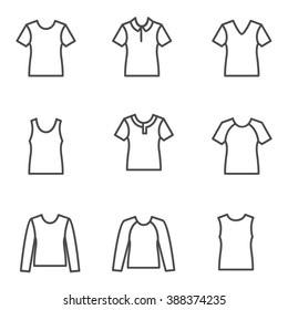 Different types of man's t-shirts as line icons / Set of vector line icons