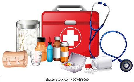 Different types of medical equipments illustration