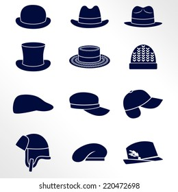 Different types of men hats / Solid fill vector icons