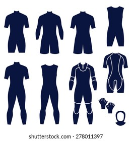 Different types of men's suits for swimming and diving / Men's suits and accessories for swimming and diving in the form of icons