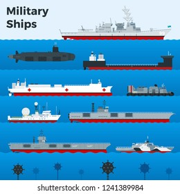 Different types of military warships, naval combat ships, aircraft carrier, boats, frigates, light cruiser, underwater mine, submarine on blue sea. Isolated flat vector illustration.